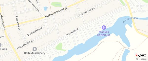 Весенняя улица на карте поселка Научного Городка с номерами домов