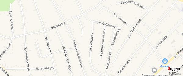 Улица Лебедева на карте поселка Тальменки с номерами домов