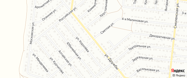 Светлая улица на карте Барнаула с номерами домов