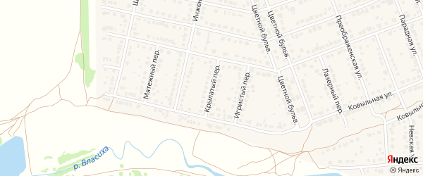 Крылатый переулок на карте села Власихи с номерами домов