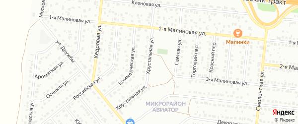 Хрустальная улица на карте Барнаула с номерами домов