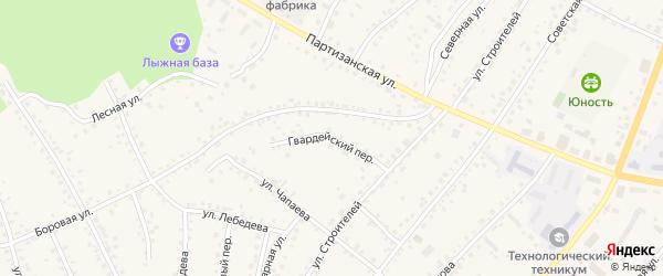 Гвардейский переулок на карте поселка Тальменки с номерами домов