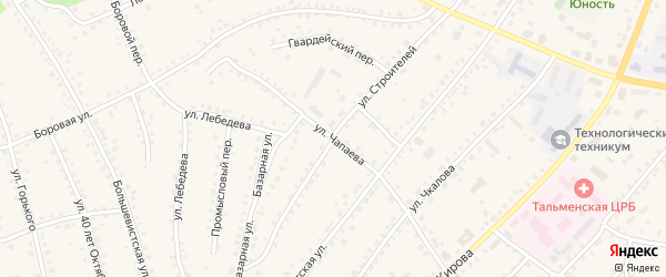 Улица Чапаева на карте поселка Тальменки с номерами домов