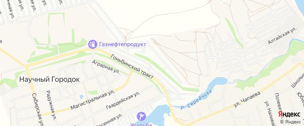 Карта садового некоммерческого товарищества Оби-3 города Барнаула в Алтайском крае с улицами и номерами домов