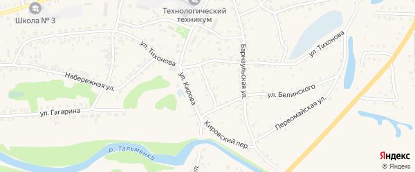 Кооперативный переулок на карте поселка Тальменки с номерами домов