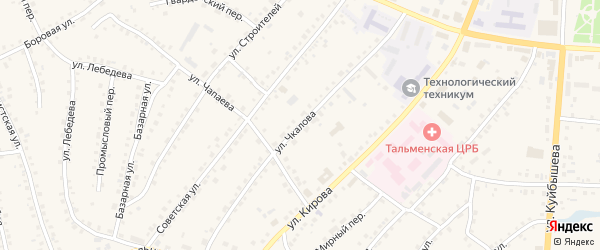 Улица Чкалова на карте поселка Тальменки с номерами домов