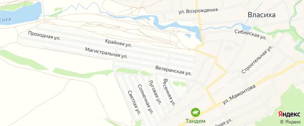Карта Пригородного садового некоммерческого товарищества города Барнаула в Алтайском крае с улицами и номерами домов