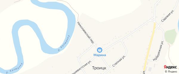 Николаевский переулок на карте поселка Троицка с номерами домов