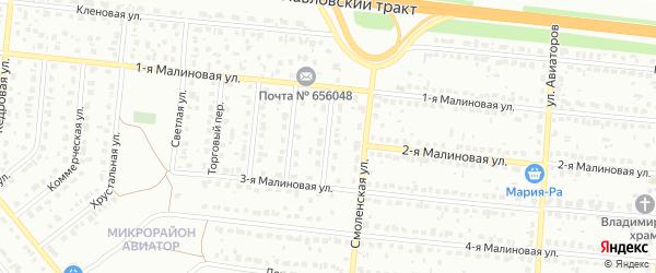 Янтарный переулок на карте Барнаула с номерами домов