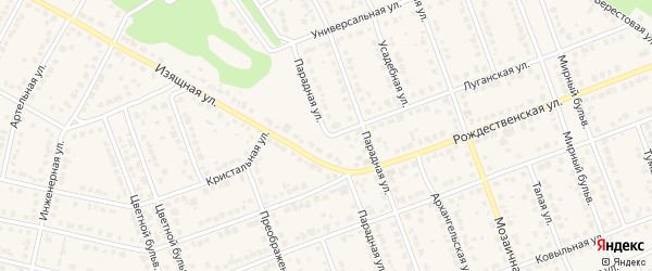 Парадная улица на карте села Власихи с номерами домов