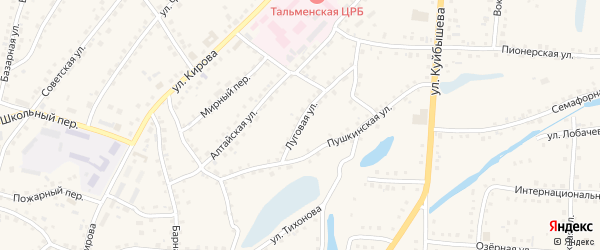 Луговая улица на карте поселка Тальменки с номерами домов