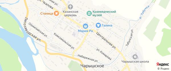 Школьный переулок на карте Чарышского села с номерами домов