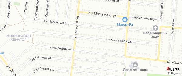 Малиновая 4-я улица на карте Барнаула с номерами домов