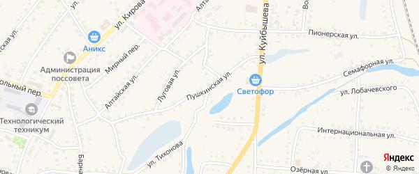 Пушкинская улица на карте поселка Тальменки с номерами домов