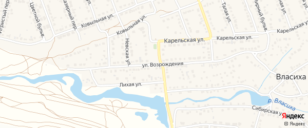 Улица Возрождения на карте села Власихи с номерами домов
