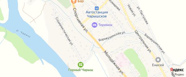 Молодежная улица на карте Чарышского села с номерами домов