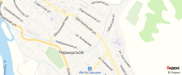 Садовый переулок на карте Чарышского села с номерами домов