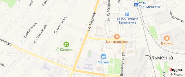 Банковский переулок на карте поселка Тальменки с номерами домов
