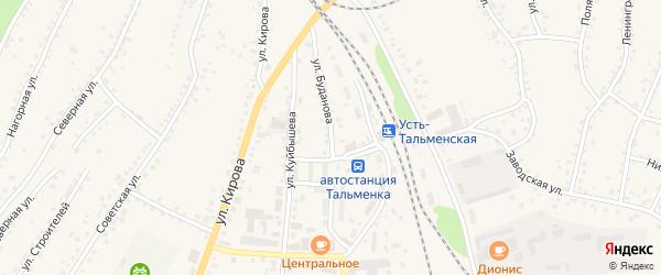 Улица Буданова на карте поселка Тальменки с номерами домов