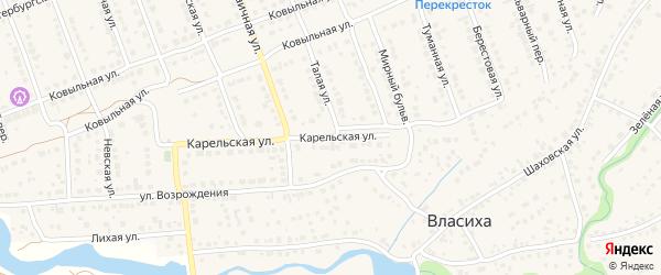 Карельская улица на карте села Власихи с номерами домов