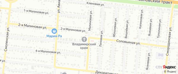 Малиновая улица на карте Барнаула с номерами домов