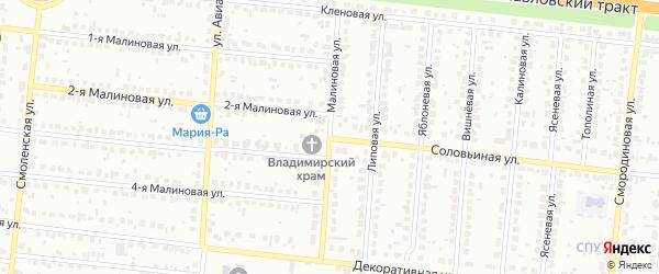 Малиновая улица на карте территории сдт Озерного с номерами домов