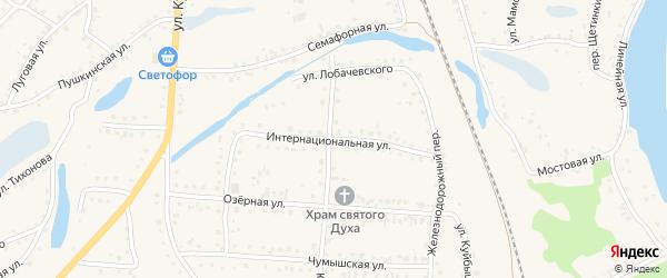 Интернациональная улица на карте поселка Тальменки с номерами домов