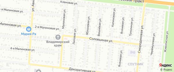 Яблоневая улица на карте садового некоммерческого товарищества Полета с номерами домов