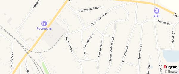 Улица Ворошилова на карте поселка Тальменки с номерами домов