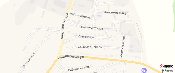 Снежная улица на карте поселка Тальменки с номерами домов