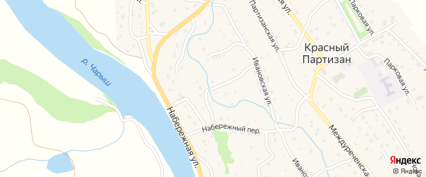 Ивановский переулок на карте села Красного Партизана с номерами домов