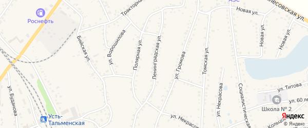 Ленинградская улица на карте поселка Тальменки с номерами домов