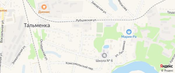 Улица Ломоносова на карте поселка Тальменки с номерами домов