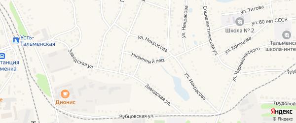 Низинный переулок на карте поселка Тальменки с номерами домов