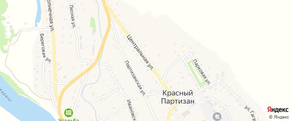 Центральная улица на карте села Красного Партизана с номерами домов