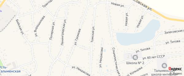 Томская улица на карте поселка Тальменки с номерами домов