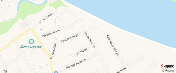 Береговая улица на карте села Гоньбы с номерами домов