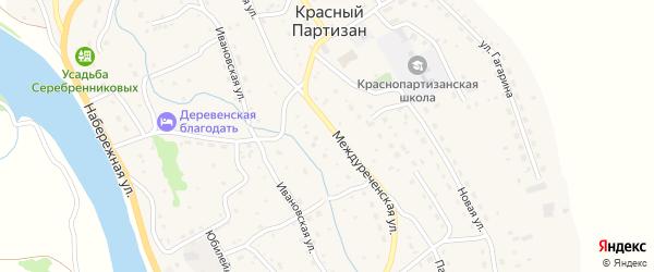 Набережный переулок на карте села Красного Партизана с номерами домов