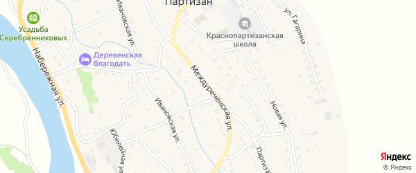 Междуреченская улица на карте села Красного Партизана с номерами домов