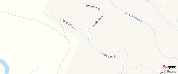 Зеленая улица на карте села Бураново с номерами домов