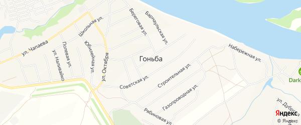 Карта села Гоньбы города Барнаула в Алтайском крае с улицами и номерами домов