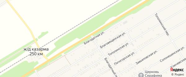 Благодатная улица на карте Центрального поселка с номерами домов