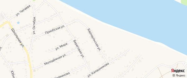 Барнаульская улица на карте села Гоньбы с номерами домов
