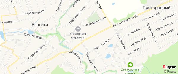 Карта села Власихи города Барнаула в Алтайском крае с улицами и номерами домов