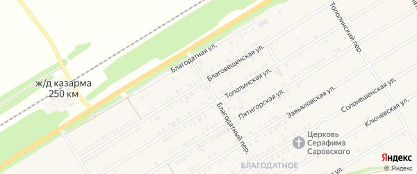 Благодатный переулок на карте Центрального поселка с номерами домов