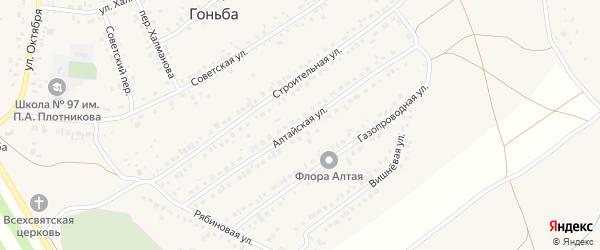 Алтайская улица на карте села Гоньбы с номерами домов