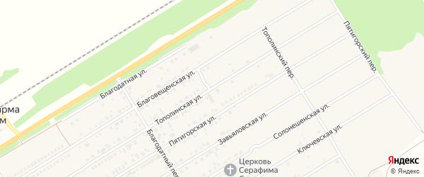 Тополинская улица на карте Центрального поселка с номерами домов