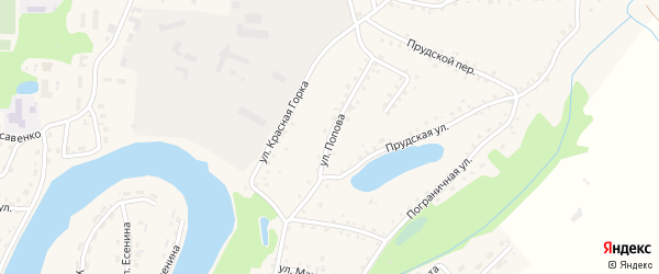 Улица Попова на карте поселка Тальменки с номерами домов