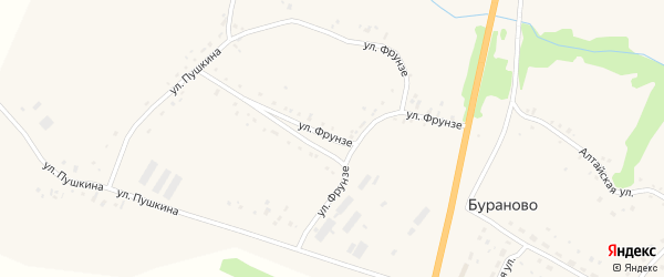 Улица Фрунзе на карте села Бураново с номерами домов