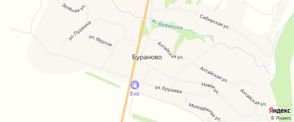 Карта села Бураново в Алтайском крае с улицами и номерами домов